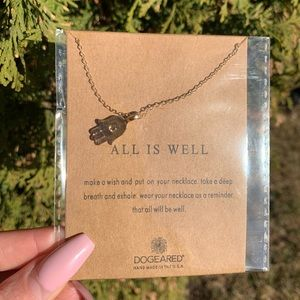 "Gold Tone ""All Is Well"" Hamsa Necklace"